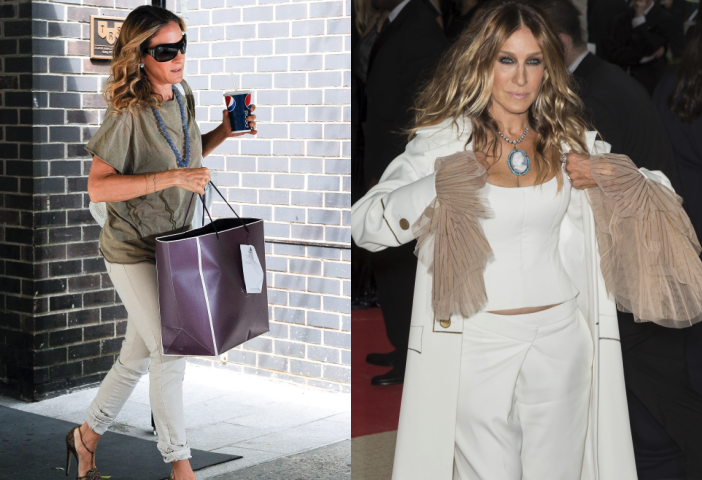 Side by side images of Sarah Jessica Parker holding a large shopping bag and at a fashion gala.