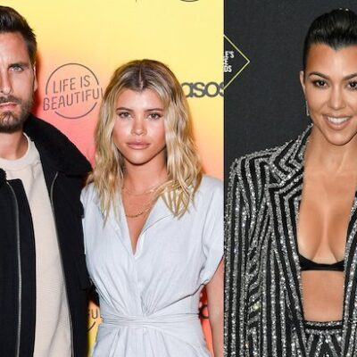 side by side images of Scott Disick and Sofia Richie together next to a photo of Kourtney Kardashian
