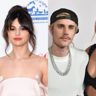 side by side images of Selena Gomez in a pink dress and white background next to Justin Bieber in a