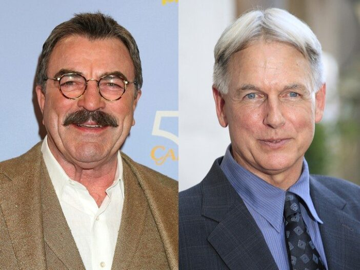 Side by side images, Tom Selleck on the left, Mark Harmon on the right.