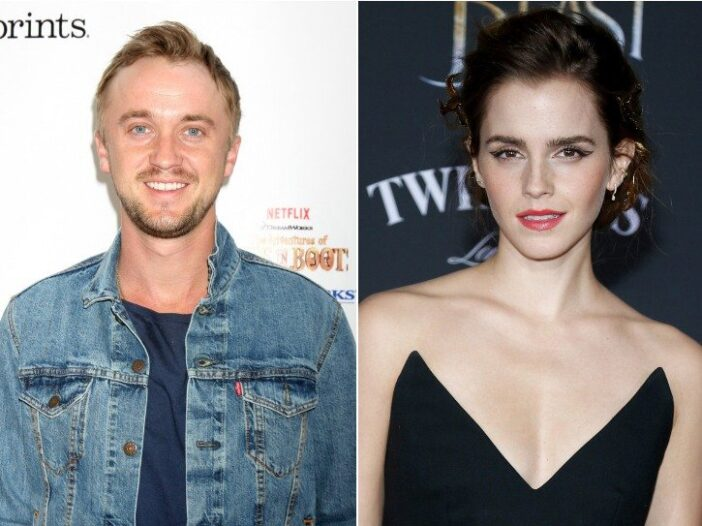 """Side-by-side of Tom Felton and Emma Watson from the """"Harry Potter"""" movie franchise"""