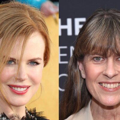 Side by side photos, a closeup of Nicole Kidman on the left and a closeup of Terri Irwin on the right.