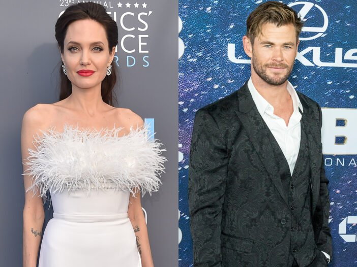 Side-by-side photos. Angelina Jolie on the left in a white dress, Chris Hemsworth on the right in a dark suit.