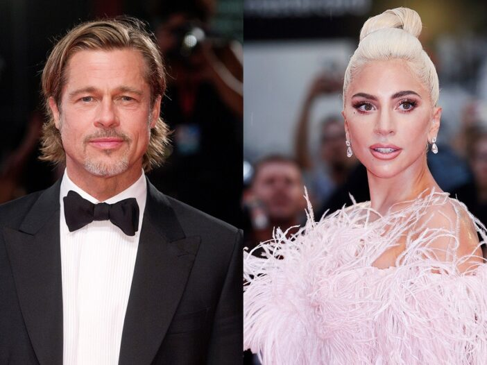 Side by side photos, Brad Pitt in a tux on the left, Lady Gaga in a feathery pink dress on the right.