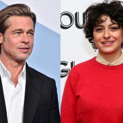 Side-by-side photos. Brad Pitt in a suit on the left, Alia Shawkat on the right in a red sweater.