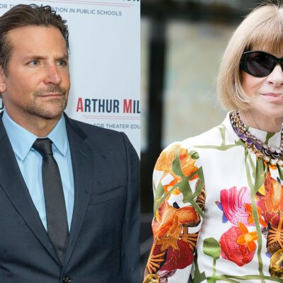Side by side photos. Bradley Cooper on the left in a suit, Anna Wintour on the right wearing a floral shirt and sunglasses.