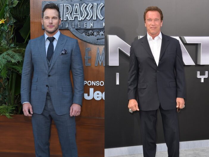 Side-by-side photos. Chris Pratt on the left, Arnold Schwarzenegger on the right, both wearing suits at movie premieres.
