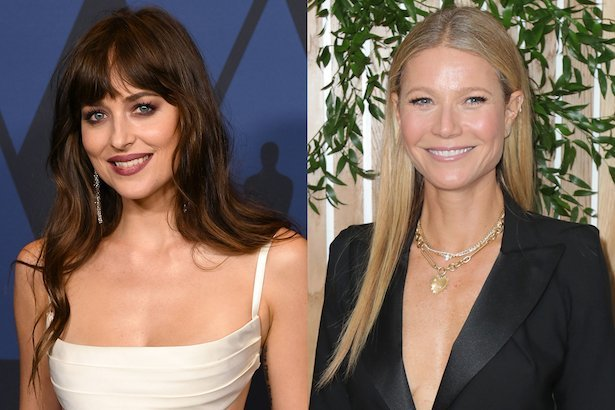 side by side photos Dakota Johnson in a white dress next to Gwyneth Paltrow in a buttoned black blaz