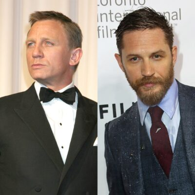 Side by side photos, Daniel Craig on the left in a tux, Tom Hardy on the right in a three-piece suit