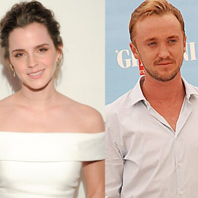 Side by side photos. Emma Watson in white on the left, Tom Felton in white on the right.