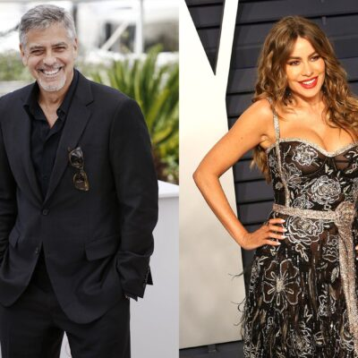 Side-by-side photos. George Clooney on the left, Sofia Vergara on the right