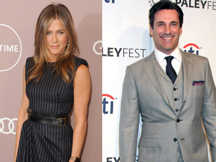 Side-by-side photos. Jennifer Aniston in a black dress on the left, Jon Hamm in a pinstripe suit on the right.