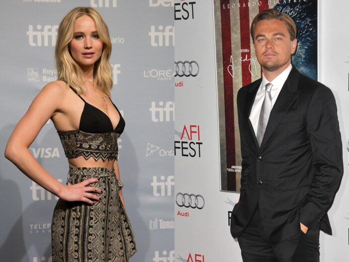 Side by side photos. Jennifer Lawrence on the left, Leonardo DiCaprio on the right.