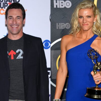 Side by side photos, Jon Hamm on the left, Lindsay Shookus on the right.