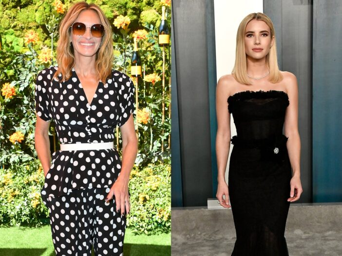 Side by side photos, Julia Roberts on the left, Emma Roberts on the right.