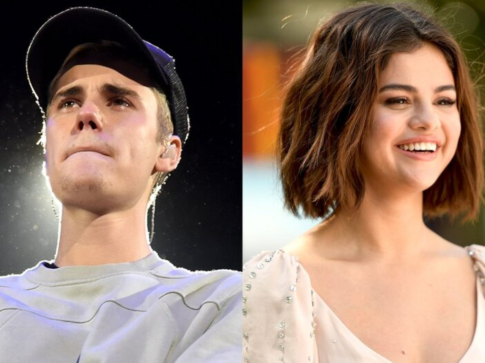 Side-by-side photos, Justin Beiber in a hat on the left, Selena Gomez in white dress on the right.