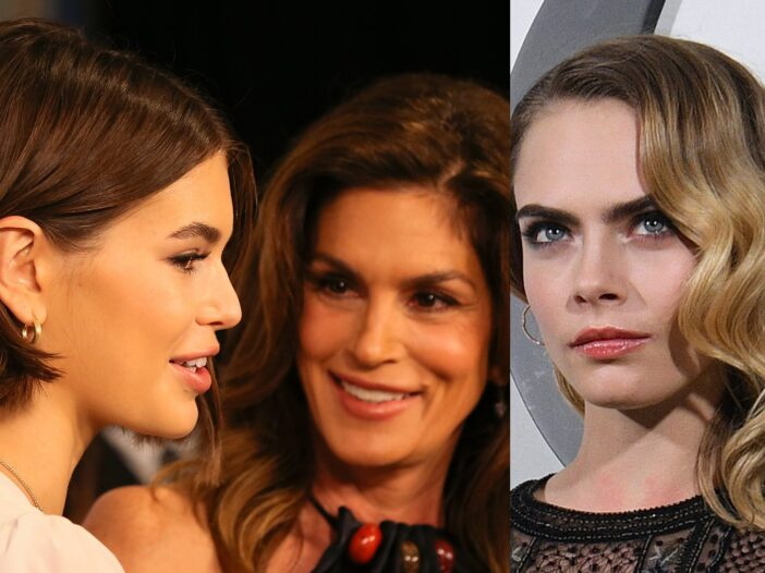 Side by side photos. Kaia Gerber with Cindy Crawford on the left, Cara Delevingne on the right.