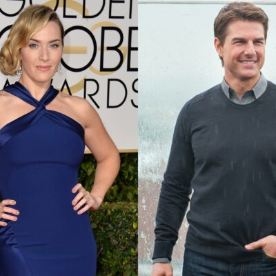Side-by-side photos. Kate Winslet on the left in a blue dress and Tom Cruise on the right on a rooftop in Moscow.