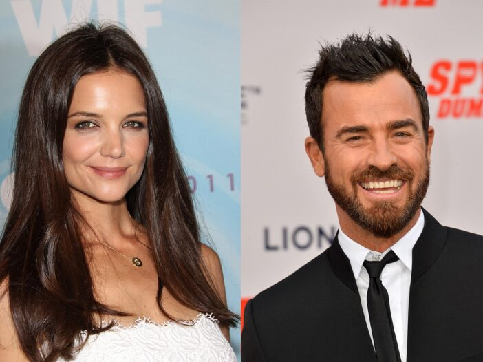 Side-by-side photos. Katie Holmes wearing white on the left and Justin Theroux on the right in a suit, both smiling.