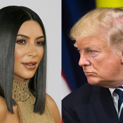 Side-by-side photos, Kim Kardashian in a gold dress on the left, Donald Trump on the right in a suit.