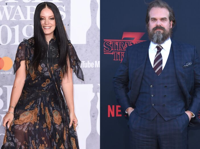Side by side photos, Lily Allen on the left in a long black dress and David Harbour on the right in a three-piece suit at the premiere of Stranger Things.