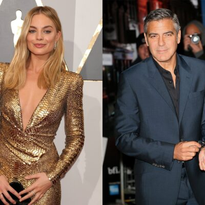 Side by side photos. Margot Robbie in a low cut gold dress on the left, George Clooney in a suit, adjusting his cuff, on the right.