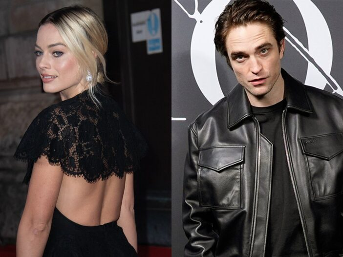 Side by side photos. Margot Robbie with her back turned in a backless dress on the left, Robert Patt