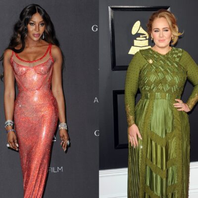 Side by-side photos, Naomi Campbell on the left in a pink dress, Adele on the right in a green dress.