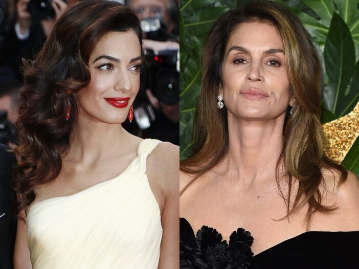 Side by side photos of Amal Clooney in a yellow dress and Cindy Crawford in a black dress
