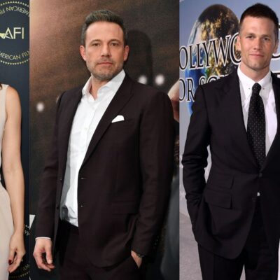 Side by side photos of Ana de Armas, Ben Affleck, and Tom Brady and Gisele Bundchen