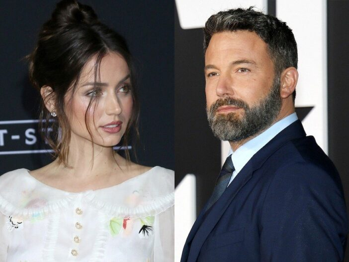 side by side photos of Ana de Armas in a white dress and Ben Affleck in a navy suit
