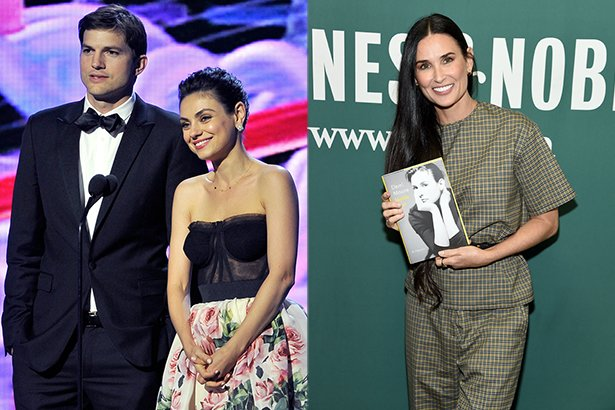 side by side photos of Ashton Kutcher in a tuxedo with Mila Kunis in a black and floral dress next t