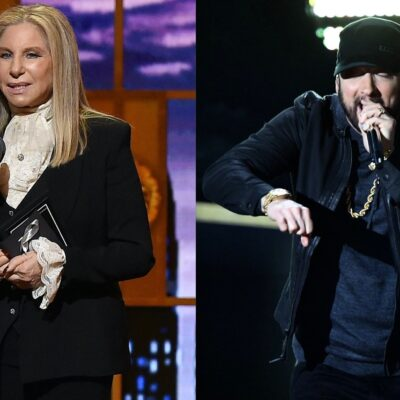 Side by side photos of Barbra Streisand and Eminem