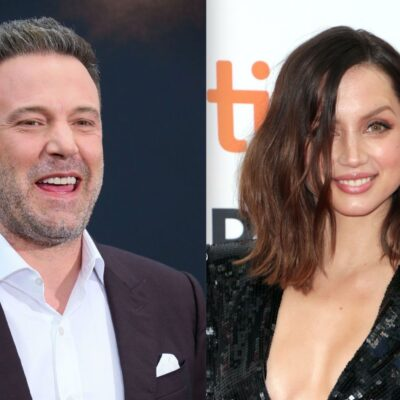 Side by side photos of Ben Affleck and Ana De Armas at movie premieres