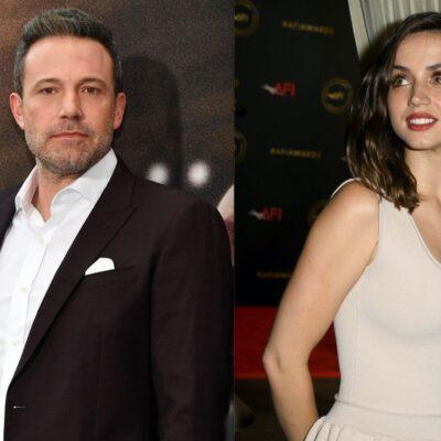 Side by side photos of Ben Affleck at a movie premiere and Ana de Armas at an awards show