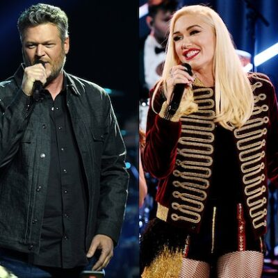 side by side photos of Blake Shelton performing and Gwen Stefani performing