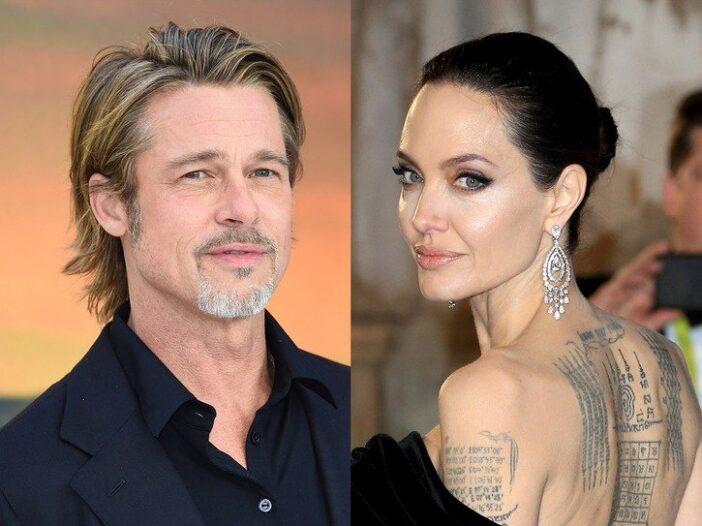 Side by side photos of Brad Pitt in a black suit and Angelina Jolie in a black dress.