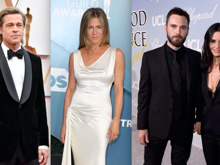 Side by side photos of Brad Pitt, Jennifer Aniston, and Courteney Cox and Johnny McDaid