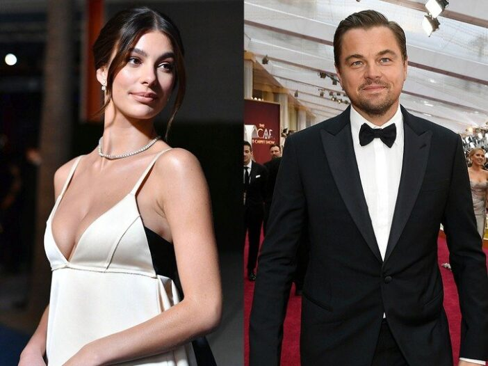 Side by side photos of Camila Morrone in a white dress on the left & Leonardo DiCaprio on the right
