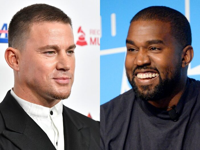 side by side photos of Channing Tatum in a black suit and Kanye West in a black shirt
