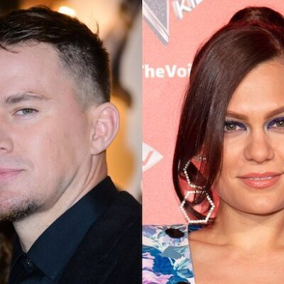 side by side photos of Channing Tatum in a black suit next to a photo of Jessie J in a blue dress