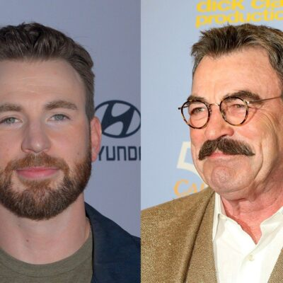 Side by side photos of Chris Evans in a dark jacket and Tom Selleck in glasses in a suit