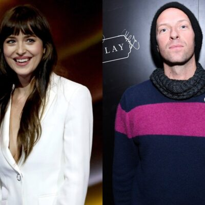 side by side photos of Dakota Johnson smiling in a white jacket and Chris Martin in a sweater, scarf