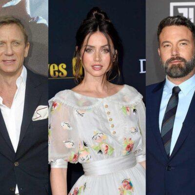 side by side photos of Daniel Craig in a suit, Ana de Armas in a dress, Ben Affleck in a suit