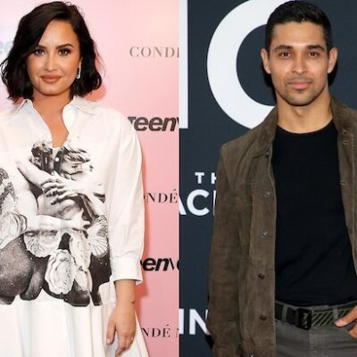side by side photos of Demi Lovato in a white dress on a pink background and Wilmer Valderrama in a