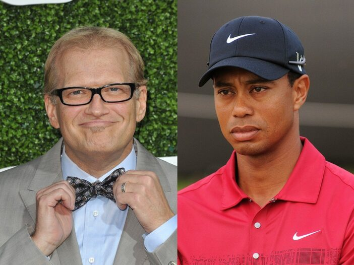 side by side photos of Drew Carey in a suit and Tiger Woods in a red golf shirt and black hat