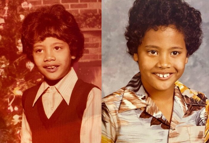 Side by side photos of Dwayne Johnson, aka The Rock, as a child.