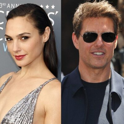 side by side photos of Gal Gadot in a silver dress and Tom Cruise in a black jacket and shirt