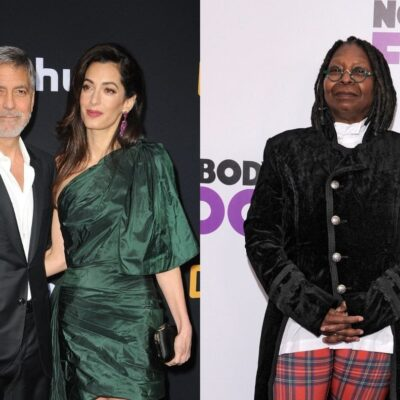 side by side photos of George and Amal Clooney and Whoopi Goldberg