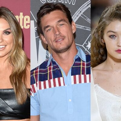 side by side photos of Hannah Brown in a black dress, Tyler Cameron in a blue shirt and Gigi Hadid i